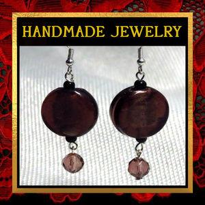 Purple Glass Earrings  #139